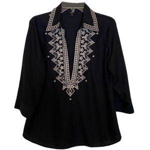 Talbots Navy Blue Blouse w/Embroidered Stitching
